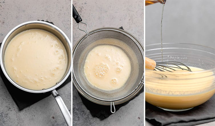A series of three photos showing the custard base of eggnog.