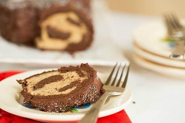Yule Log (Buche de Noel) with Espresso-Mascarpone Filling by @browneyedbaker :: www.browneyedbaker.com