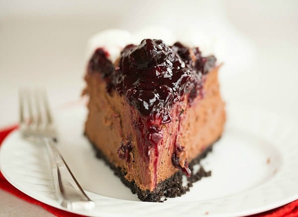 Black Forest Cheesecake by @browneyedbaker :: www.browneyedbaker.com