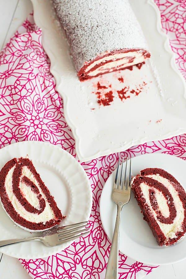 Red Velvet Roll Cake   browneyedbaker.com #recipe #ValentinesDay