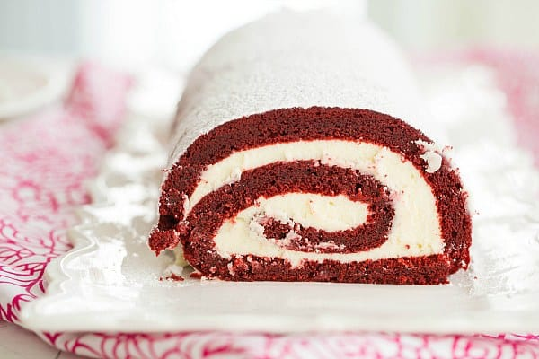Red Velvet Roll Cake | browneyedbaker.com #recipe #ValentinesDay