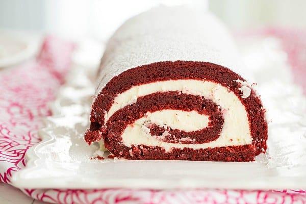 Red Velvet Roll Cake | browneyedbaker.com #recipe #ValentinesDay