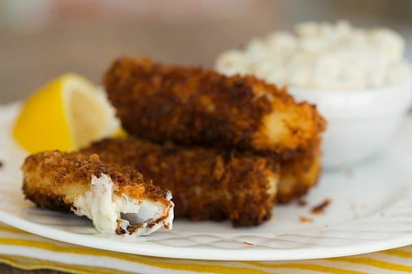 Homemade Fish Sticks with Homemade Tartar Sauce | browneyedbaker.com #recipe #Lent