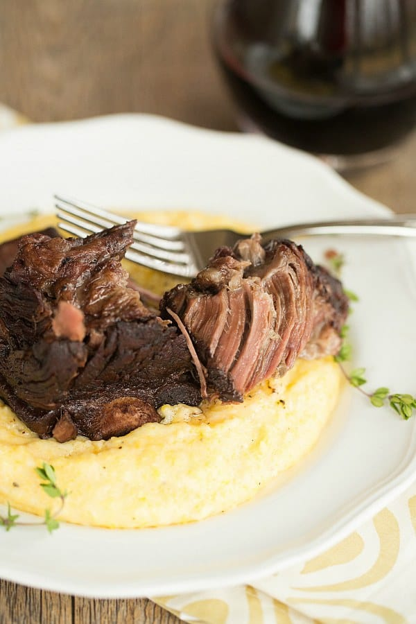 Braised Short Ribs with Cheesy Grits | browneyedbaker.com