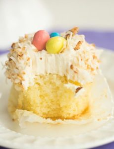 Coconut Cupcakes with Toasted Coconut Frosting | browneyedbaker.com #recipe #Easter #cupcakes