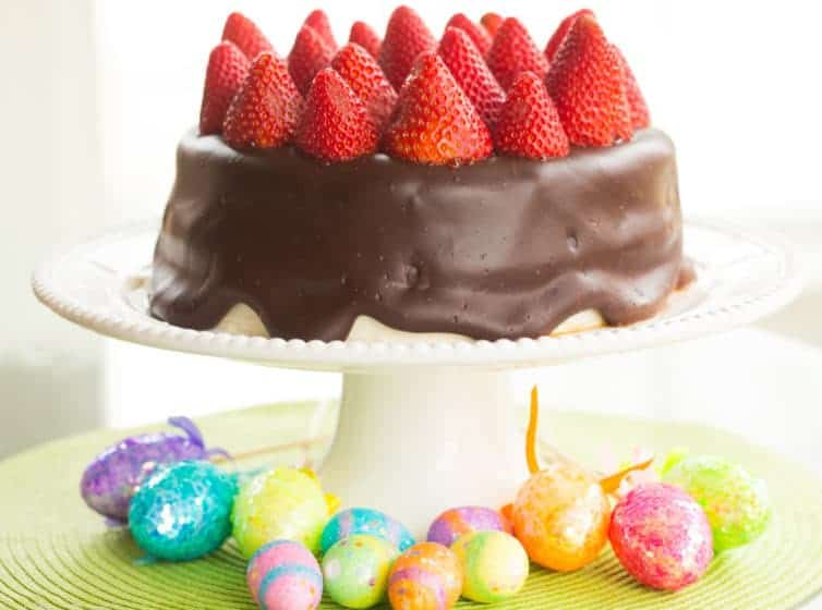 Chocolate-Covered Banana Cake with Strawberries and Cream Cheese Frosting