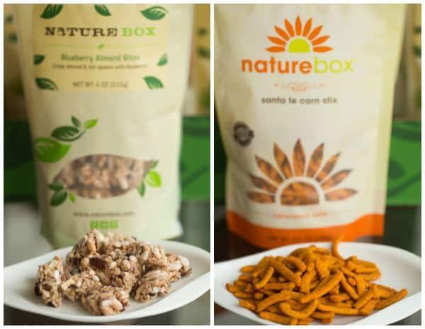 NatureBox Blueberry Almond Bites and Sante Fe Stix
