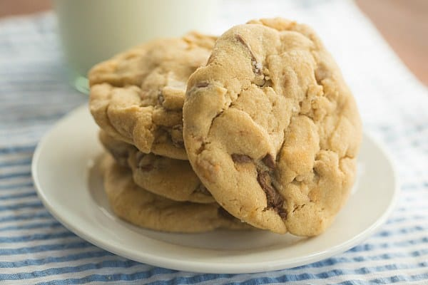Salted Peanut Butter Cup Chocolate Chip Cookies | browneyedbaker.com #recipe