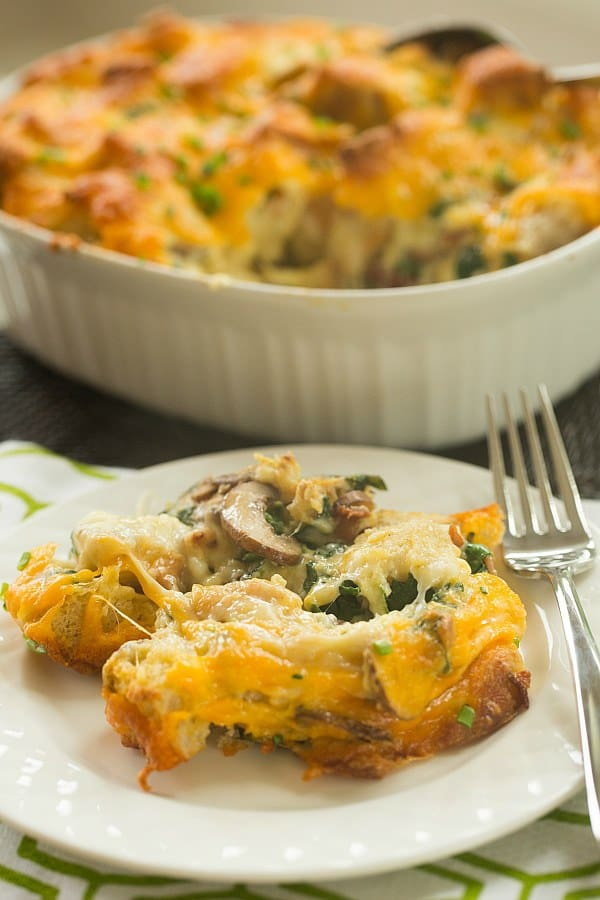 Cheesy Bacon, Mushroom & Spinach Breakfast Strata | browneyedbaker.com #recipe