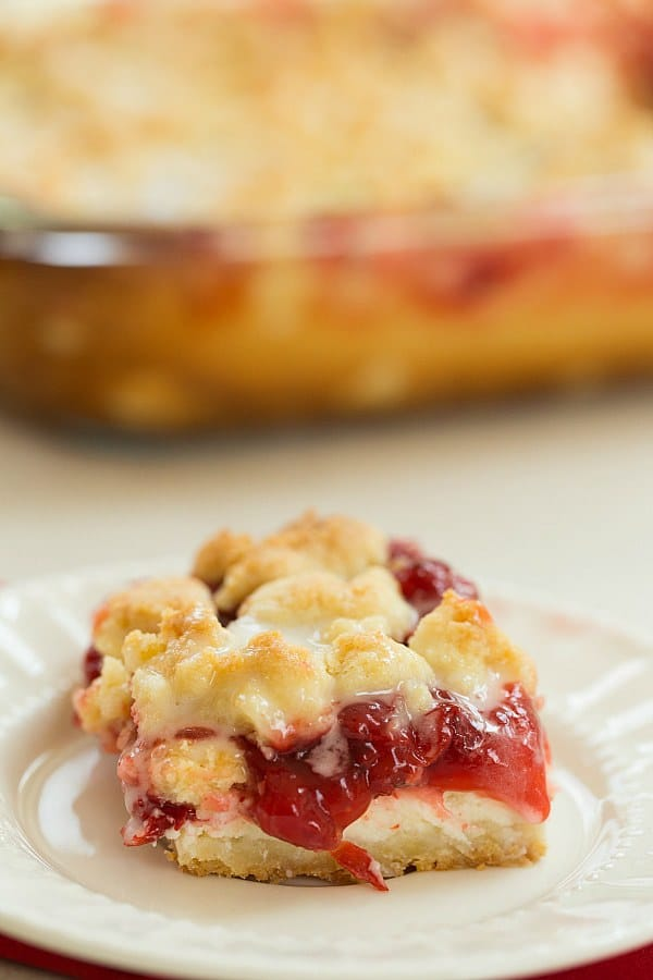 Cream Cheese Cherry Pie Crumb Bars | browneyedbaker.com #recipe
