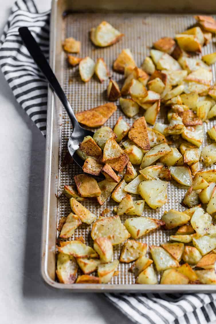 A pan or roasted potatoes after baking.