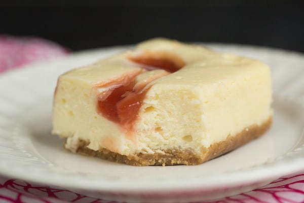 Strawberry Swirl Cheesecake Bars | browneyedbaker.com #recipe