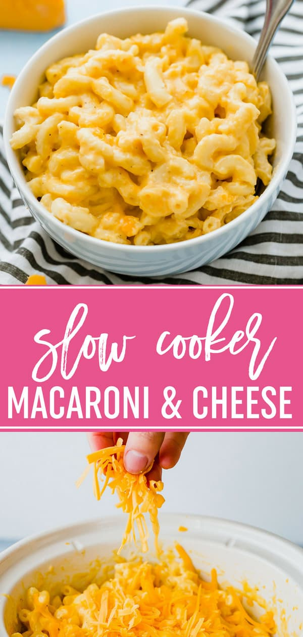 Crock Pot Mac and Cheese - An easy, super cheesy macaroni and cheese recipe made right in the slow cooker. Perfect for holidays and feeding a crowd! #macandcheese #macaroniandcheese #crockpot #crockpotrecipes #slowcooker #slowcookerrecipes