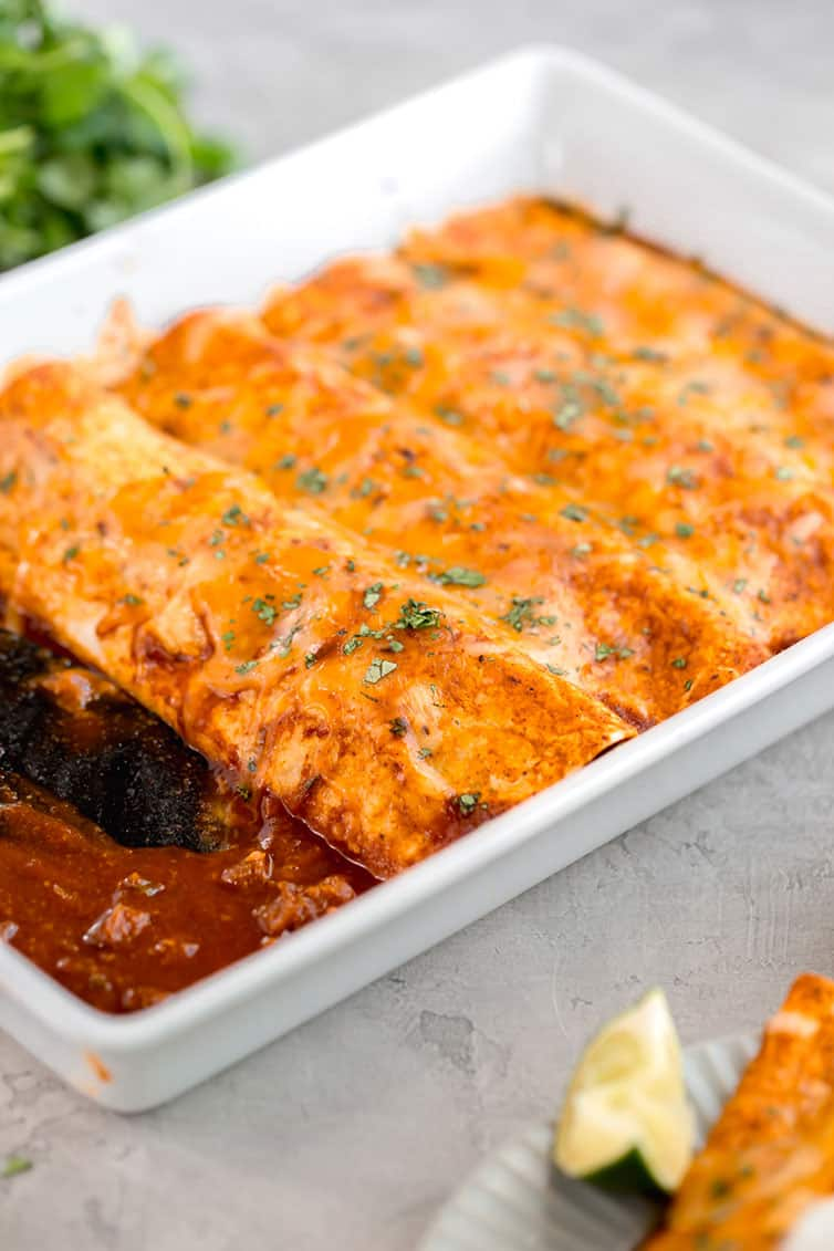 A pan of baked beef enchiladas.