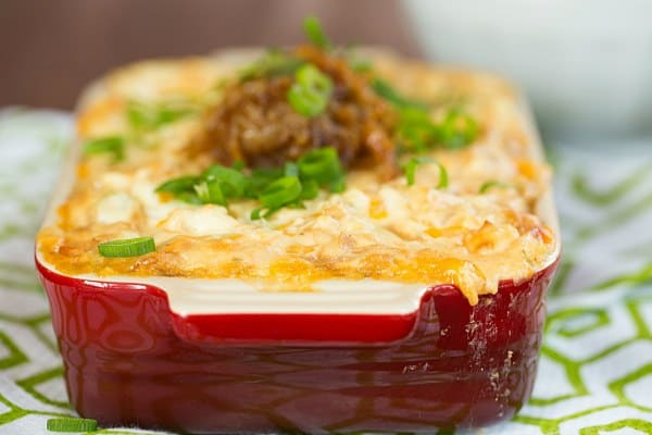 Creamy Caramelized Onion and Roasted Garlic Dip   browneyedbaker.com #recipe #appetizers #gameday
