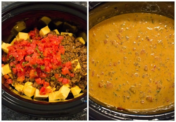 Crock-Pot Spicy Beef Queso Dip | browneyedbaker.com #recipe