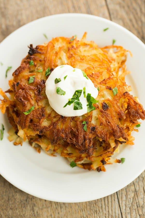 Crispy Potato Latkes | browneyedbaker.com #recipe #oktoberfest #hanukkah