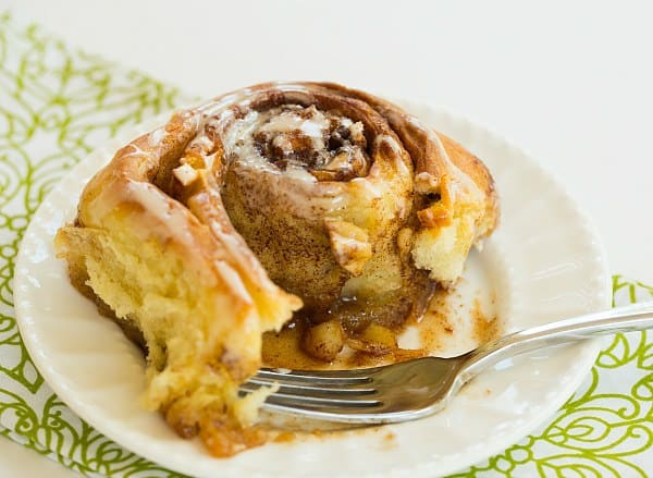 Salted Caramel Apple Cinnamon Rolls | browneyedbaker.com