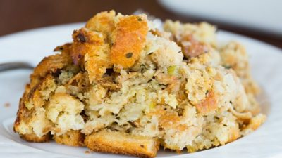 Traditional Bread Stuffing - A must-make for any Thanksgiving dinner! | browneyedbaker.com