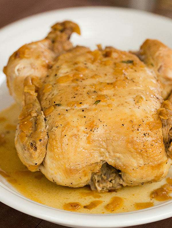 Crock-Pot Whole Roasted Chicken - You'll never need to use your oven to roast a chicken again! | browneyedbaker.com