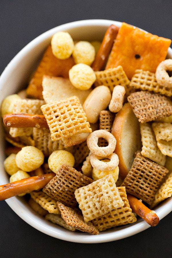 Nuts & Bolts Homemade Snack Mix with a secret ingredient - bacon grease!   browneyedbaker.com