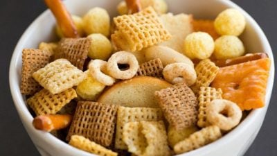 Nuts & Bolts Homemade Snack Mix with a secret ingredient - bacon grease! | browneyedbaker.com