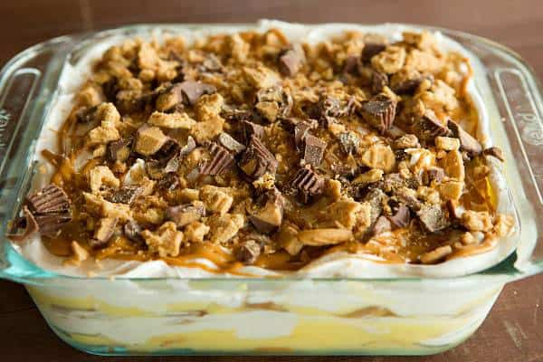 No-Bake Peanut Butter Lover's Icebox Cake - Nutter Butters, peanut butter cups, oh my! | browneyedbaker.com