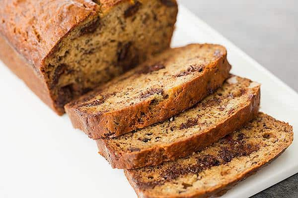 Dark Chocolate Chunk & Walnut Banana Bread | browneyedbaker.com