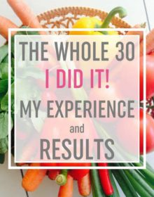 """A basket of vegetables with text overlay: """"The Whole 30: I DID IT! My Experience and Results"""""""
