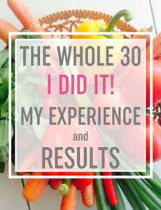 "A basket of vegetables with text overlay: ""The Whole 30: I DID IT! My Experience and Results"""