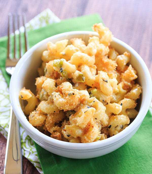 Hatch Chile Mac and Cheese - Perfectly cheesy with a kick!   https://www.browneyedbaker.com/hatch-chile-mac-and-cheese/