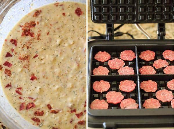 Savory Salami, Cheese & Herb Waffles | https://www.browneyedbaker.com/salami-cheese-waffles/