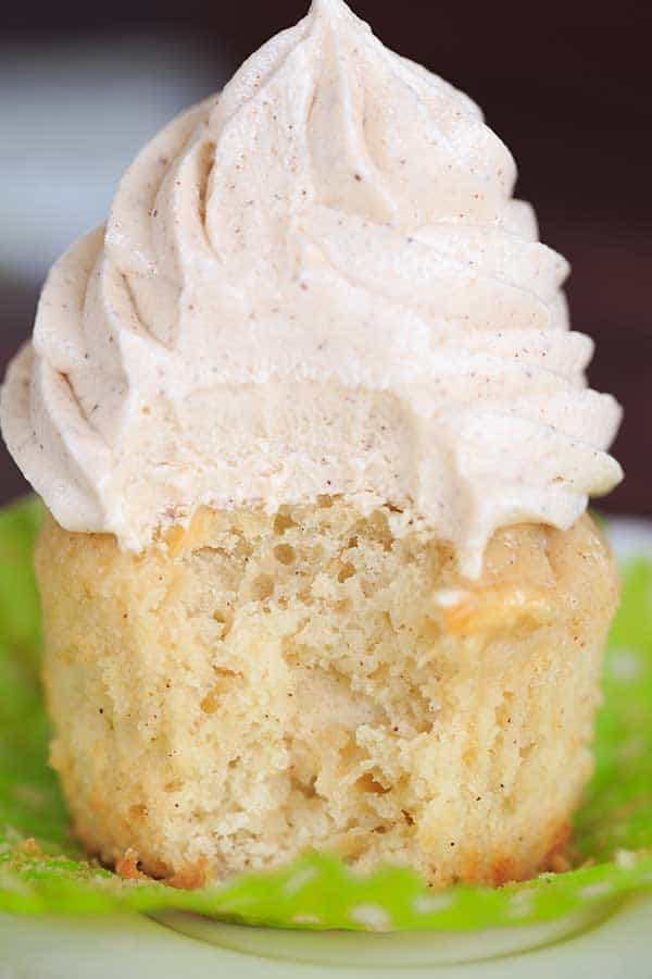 Apple Cupcakes with Cinnamon-Cream Cheese Frosting - A perfect way to kick off fall baking! | https://www.browneyedbaker.com/apple-cupcakes-cinnamon-cream-cheese-frosting/
