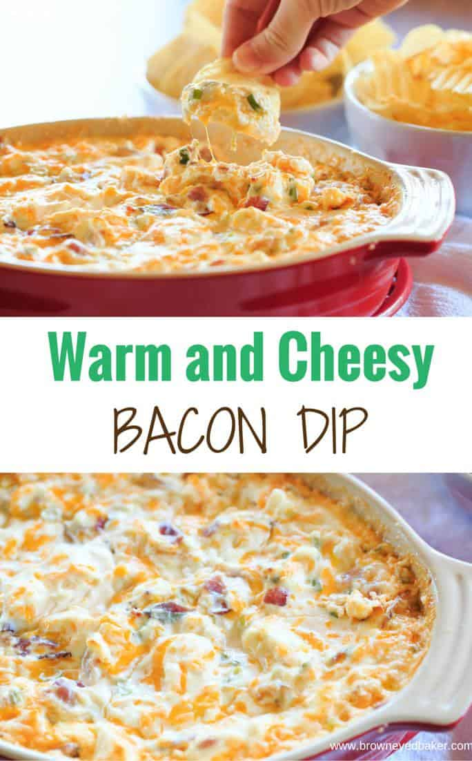 Warm and Cheesy Bacon Dip - A hot version of the popular Loaded Baked Potato Dip! | https://www.browneyedbaker.com/warm-cheesy-bacon-dip/