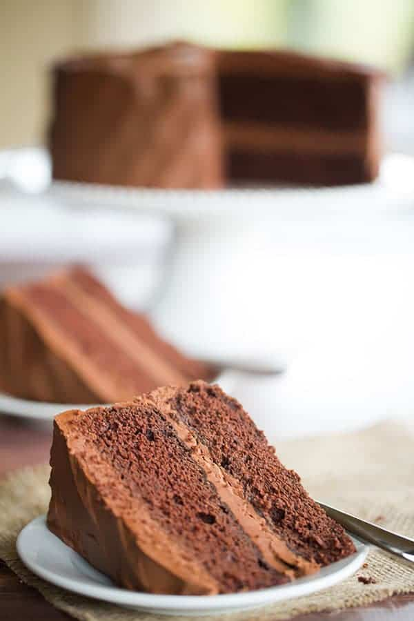 Old-Fashioned Chocolate Layer Cake with Chocolate Frosting | browneyedbaker.com