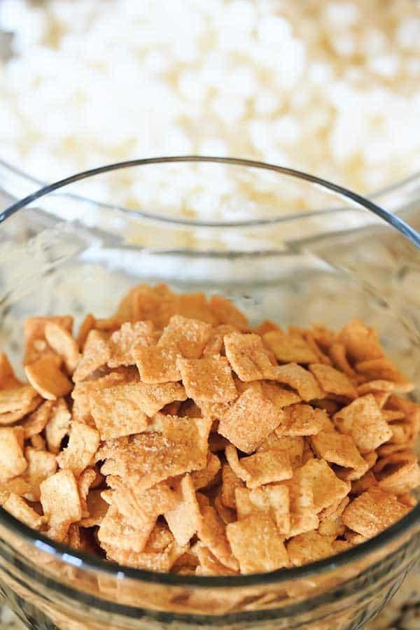 Cinnamon Toast Crunch Marshmallow Treats - A delicious, cinnamon-y riff on the classic Rice Krispie treats. | https://www.browneyedbaker.com/cinnamon-toast-crunch-marshmallow-treats
