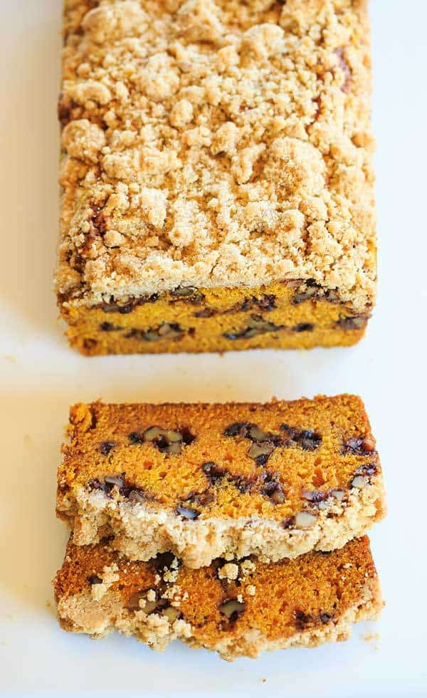 Pumpkin Bread with Cinnamon-Maple Walnuts and Crumb Topping | https://www.browneyedbaker.com/pumpkin-crumb-bread/