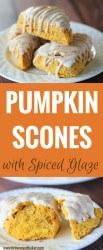 Pumpkin Scones with Spiced Glaze - A Starbucks copycat! | https://www.browneyedbaker.com/pumpkin-scones-spiced-glaze/