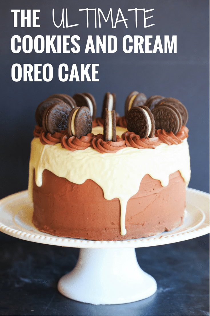 The ULTIMATE Cookies and Cream Oreo Cake - A triple layer chocolate cake with cookies and cream filling, chocolate fudge frosting, white chocolate glaze and more Oreos on top! | https://www.browneyedbaker.com/cookies-and-cream-oreo-cake/
