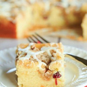 Overnight Cranberry-Eggnog Coffee Cake | browneyedbaker.com