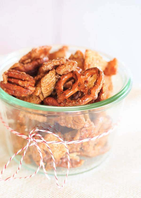 Cinnamon-Sugar Candied Chex Mix with Pecans and Pretzels - A perfect holiday snack and hostess gift! | browneyedbaker.com