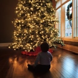 Joseph sitting in front of the Christmas tree...