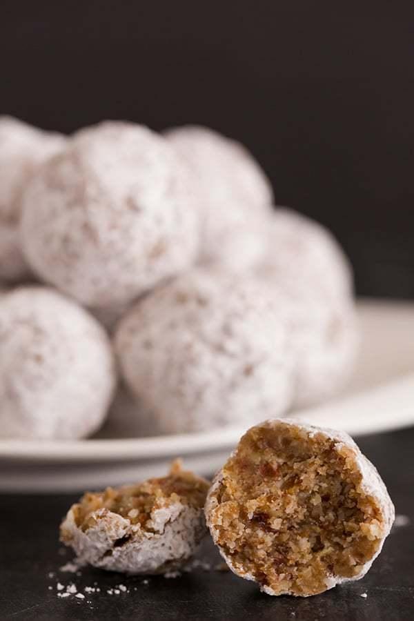 No Bake Date Pecan Snowball Cookies