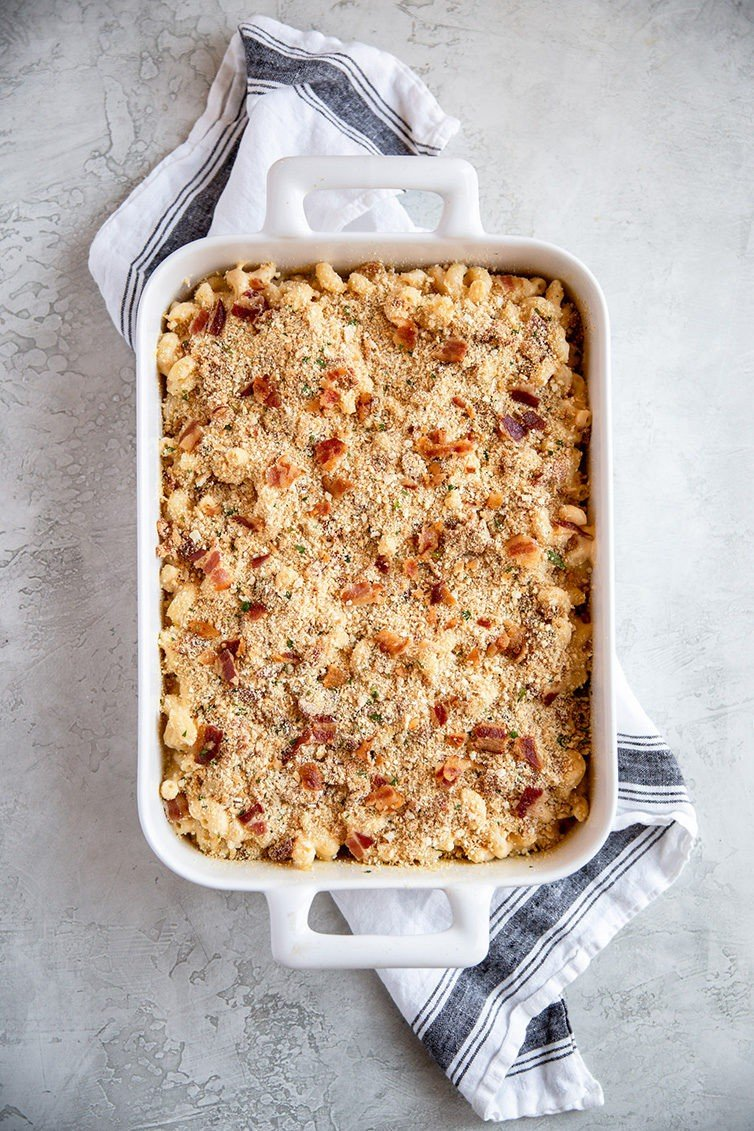 A casserole dish with baked mac and cheese assembled before going into the oven.