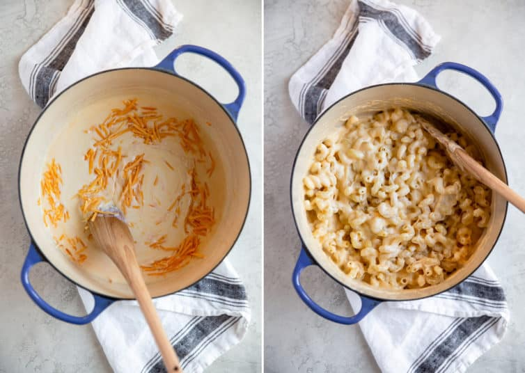 A collage photo of making the sauce for mac and cheese.
