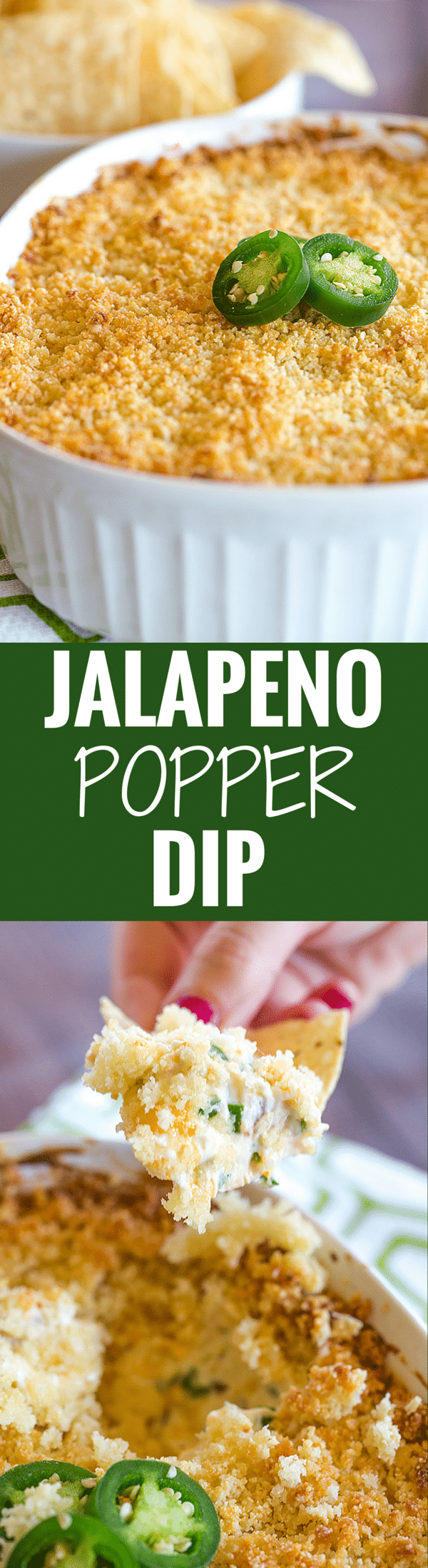 Jalapeno Popper Dip is creamy, cheesy and has just the perfect amount of kick. Great for your next party or watching the big game!
