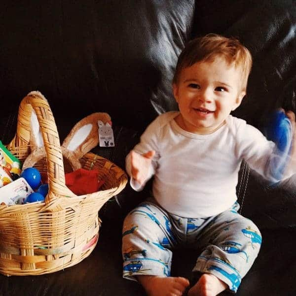 Joseph digging into his Easter basket!