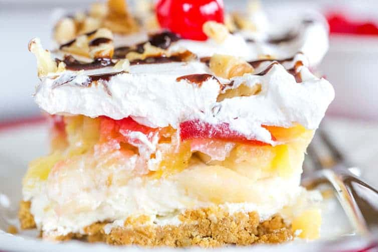 No Bake Banana Split Cake With Pudding