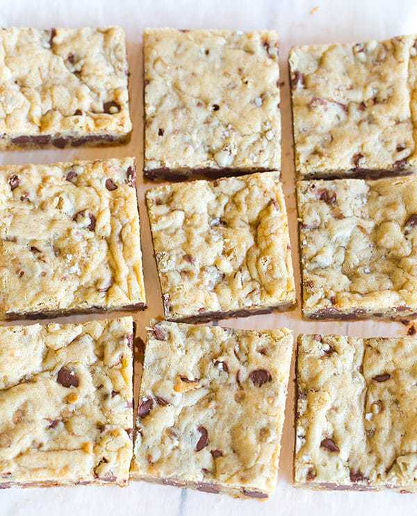 Chocolate Chip and Toffee Blondies spiked with fleur de sel inside and out! Easy, QUICK recipe! One bowl and start to finish recipe time is only 30 minutes!