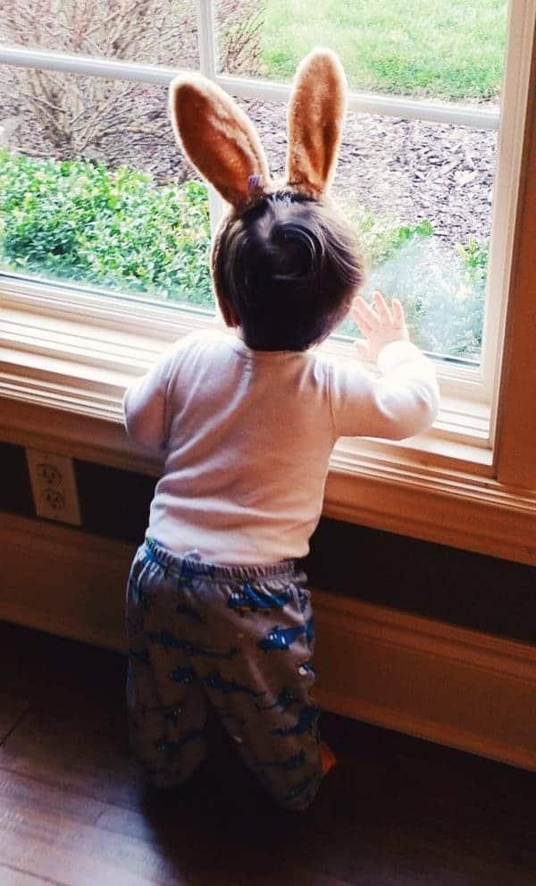 Joseph sporting his Easter bunny ears